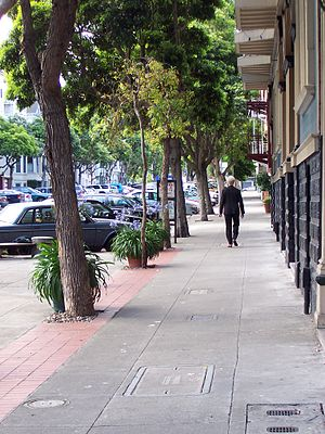 Duboce Triangle, San Francisco - Tree-lined sidewalk access to parking, Victorians, and more modern buildings on Sanchez Street near 14th Street in Duboce Triangle.