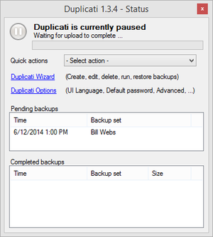 Screenshot of Duplicati 1.3.4