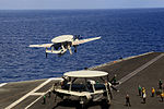 E2D Hawkeye AWACS taking off from the USS Theodore Roosevelt during Malabar 2015.jpg