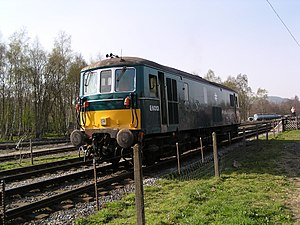 Electro-diesel locomotive - British Rail Class 73, no. E6013 (73107) at Rowsley South, on the Peak Railway on 17 April 2003. This locomotive was on loan from Fragonset Railways, and has since returned to main-line service with RT Rail.