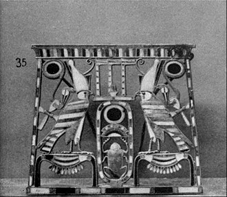 Gold (hieroglyph) - 12th dynasty pectoral, featuring twice a combination of the Horus falcon with the gold hieroglyph