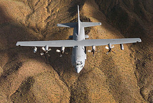 Lockheed EC-130H Compass Call - An EC-130H Compass Call flies a training mission over Lake Mead, Arizona.