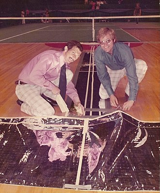 Electronic line judge - The Mylar sensors used beneath the carpet to detect where the ball landed for the first computerized, electronic line judge device. The inventors; Grant (left) and Nicks.