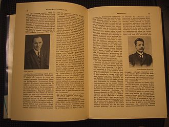 Encyclopedia Lituanica - An open volume of Encyclopedia Lituanica with picture of publisher Juozas Kapočius on the left