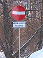 EU-EE-Tallinn-Pirita-Vandalised road sign.JPG