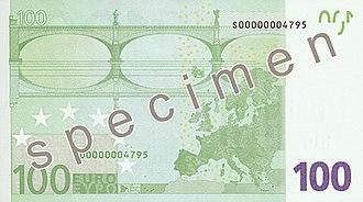 100 euro note - Reverse