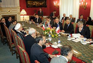 Nuclear program of Iran - Iran-EU-3's first meeting, Sa'dabad Palace, Tehran, 21 October 2003. EU-3 ministers and Iran's top negotiator Hassan Rouhani