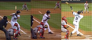 Three pictures side by side of Edgar Martínez swinging at a pitch.