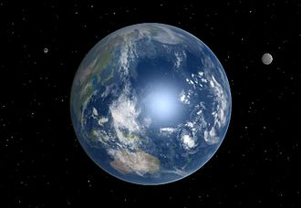 Hypothetical astronomical object - Artist's concept of Earth, orbited by a hypothetical second moon.