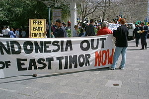 East Timorese Australians - A demonstration for independence from Indonesia held in Australia during September 1999.