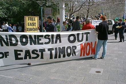 A demonstration for independence from Indonesia held in Australia during September 1999 East Timor Demo.jpg