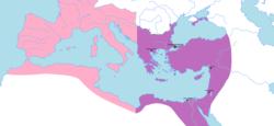Terytorium wschodniego cesarstwa rzymskiego, z zachodniego Cesarstwa Rzymskiego przedstawiono na różowo.
