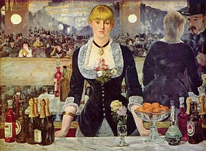 Product placement - A Bar at the Folies-Bergère by Edouard Manet, which may be an early example of product placement. The distinctive label and shape of two bottles allow them to be identified  as Bass beer