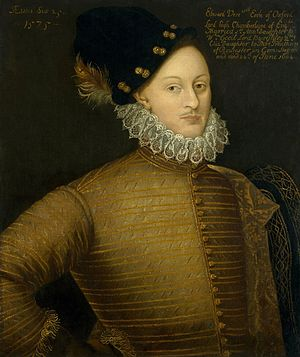 Oxfordian theory of Shakespeare authorship - Edward de Vere, the 17th Earl of Oxford, is the most popular alternative candidate for the author behind the alleged pseudonym, Shakespeare. Unknown artist after lost original, 1575; National Portrait Gallery, London.