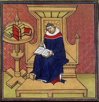 Palace of Aachen - Eginhard is Charlemagne's biographer; the name of the architect of the Palace of Aachen is known thanks to his work (14th/15th-century illumination)