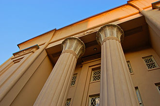 Egyptian Building - Detail of east portico.
