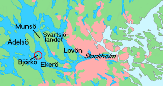 Map showing Ekerö in relation to Stockholm