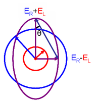 Elliptical polarized light (purple) is composed of unequal contributions of right (blue) and left (red) circular polarized light.
