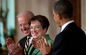Elena Kagan Supreme Court nomination - Elena Kagan with President Barack Obama and Vice President Joe Biden in the East Room of the White House, May 10, 2010.