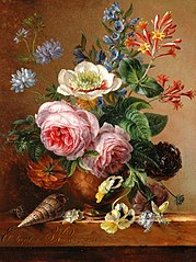 Still Life of Flowers on a Marble Slab