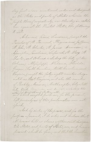 Page three of the Emancipation Proclamation.