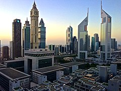 Emirates Towers in Dubai at dawn.jpg