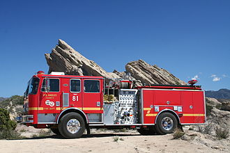 Los Angeles County Fire Department - former Engine Company 81, a 1998 KME triple combination pumper at Vasquez Rocks serving Agua Dulce, California