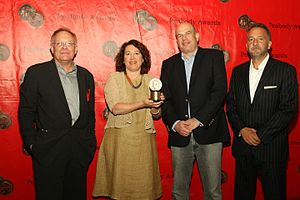 Nina Kostroff Noble - Eric Overmyer, Nina K. Noble, David Simon, and George Pelecanos with a Peabody Award, 2012