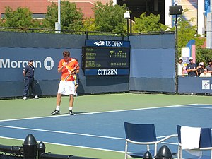 Ernests Gulbis - Gulbis during a match with Potito Starace at the 2007 US Open.