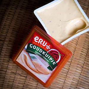 Processed cheese - A commercial processed cheese spread containing chili paste