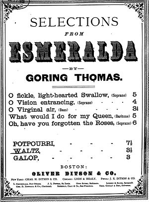 Esmeralda (opera) - Selections from Esmeralda, sheet music published by Oliver Distson & Co., 1883