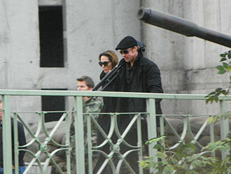 In the Land of Blood and Honey - Jolie and Brad Pitt on the set of In the Land of Blood and Honey in Esztergom on November 10, 2010