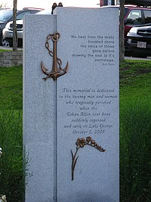 Photograph of memorial monument for 2005 Ethan Allen sinking