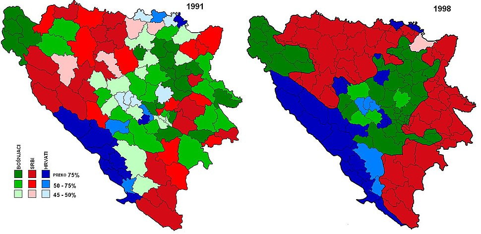 Ethnic makeup of Bosnia and Herzegovina before and after the war