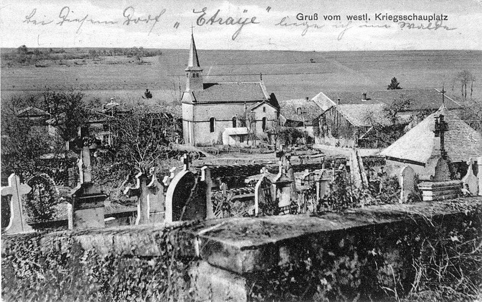 Etraye. L'église vue depuis le cimetière. Carte postale allemande.