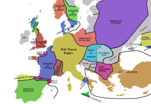 Map of Europe in 998
