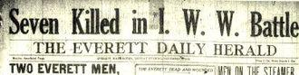 Everett massacre - A news headline on the massacre.
