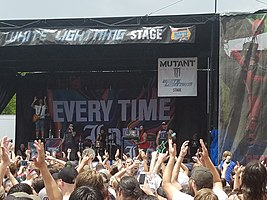 Every Time I Die performing on the 2018 Vans Warped Tour.