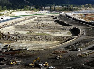 Milltown Reservoir Superfund Site - Sediment removal as part of the remediation in the fall of 2008