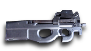 Photo of the P90 LV/LIR with an empty magazine in the weapon