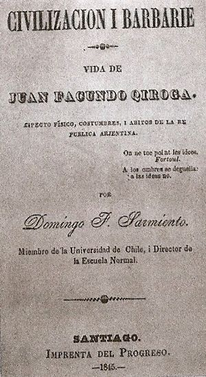 Facundo - The cover of the original version from 1845.