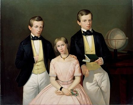 Three siblings of the Faesch family in Basel in 1849 Faesch siblings Basel 1849.jpeg