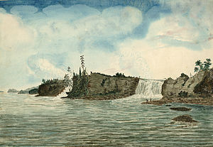 Rideau River - 1826 painting of the Rideau Falls, where the Rideau River empties out into the Ottawa River, by Thomas Burrowes