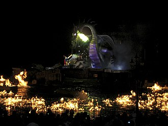 Fantasmic! - Mickey Mouse faces off against Maleficent in her dragon form.