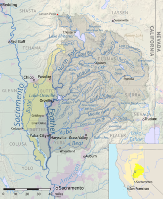Antelope Dam (California) - Feather River watershed map, with Indian Creek and Antelope Reservoir towards the upper right