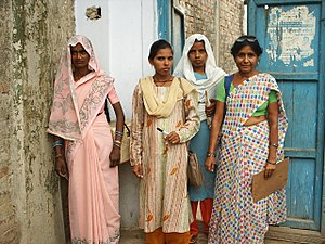 Healthcare in India - A group of healthcare workers prepare for their day of immunization work in India