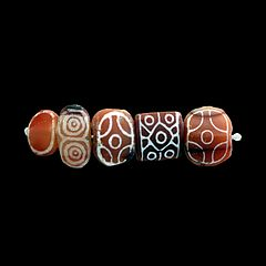 Five engraved beads-Sb 17751
