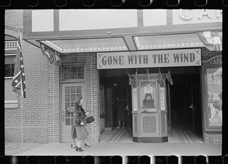 Lincoln's Birthday - Flags of the Confederacy displayed at a movie house on Lincoln's birthday in Winchester, Virginia in February 1940