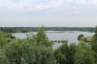Fleet, Hampshire - View of Fleet Pond.  The railway line is about 100 metres to the left of the picture.