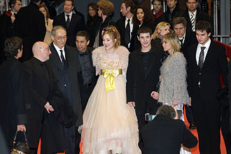 "The Witnesses - Michel Blanc, André Téchiné, Sami Bouajila, Julie Depardieu, Johan Libereau, Emmanuelle Béart, Lorenzo Balducci (left to right), arrival for the premiere of ""Les Témoins"" (""The Witnesses"", Die Zeugen""), Berlinale palace, Potsdamer Platz, Berlin."